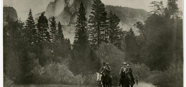 [John Muir and Theodore Roosevelt on horseback, Yosemite Valley], courtesy, California Historical Society, CHS2013.1337.jpg.