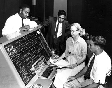 UNIVAC computer with Grace Hopper and others