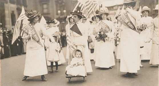 photo of suffrage demonstration courtesy of Library of Congress