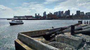 Boston harbor ferry and skyline