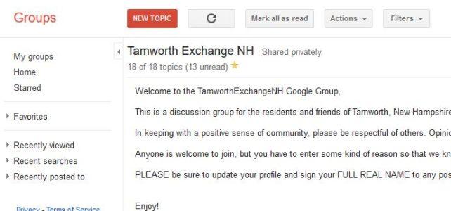 Tamworth Exchange Google Group workshop