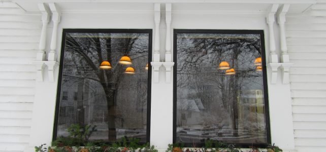 library windows in winter