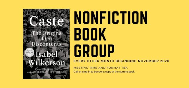 Nonfiction Book Group meets on November 16th